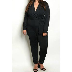 Clearance - Plus Size Black Bodycon Belted Catsuit Jumpsuit